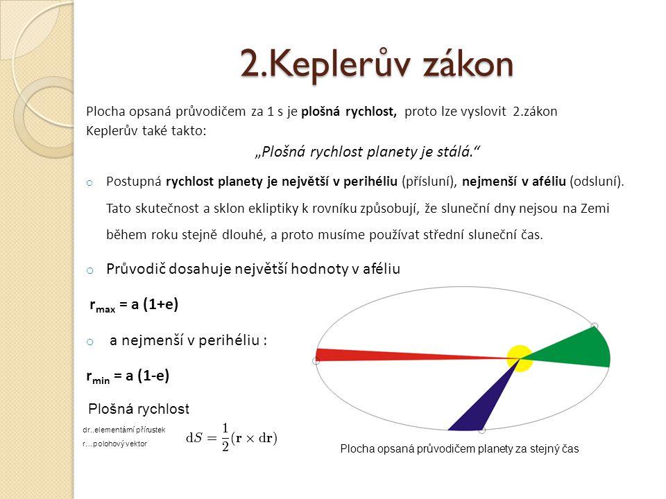 """2.Keplerův zákon Plocha opsaná průvodičem za 1 s je plošná rychlost, proto lze vyslovit 2.zákon Keplerův také takto: """"Plošná rychlost planety je stálá. o Postupná rychlost planety je největší v perihéliu (přísluní), nejmenší v aféliu (odsluní)."""