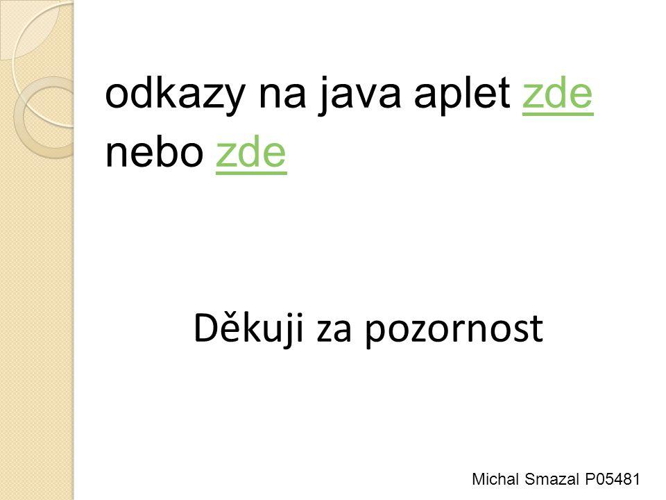 odkazy na java aplet zdezde nebo zdezde Děkuji za pozornost Michal Smazal P05481