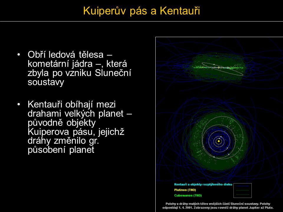 Kuiperův pás a Kentauři Obří ledová tělesa – kometární jádra –, která zbyla po vzniku Sluneční soustavy Kentauři obíhají mezi drahami velkých planet –