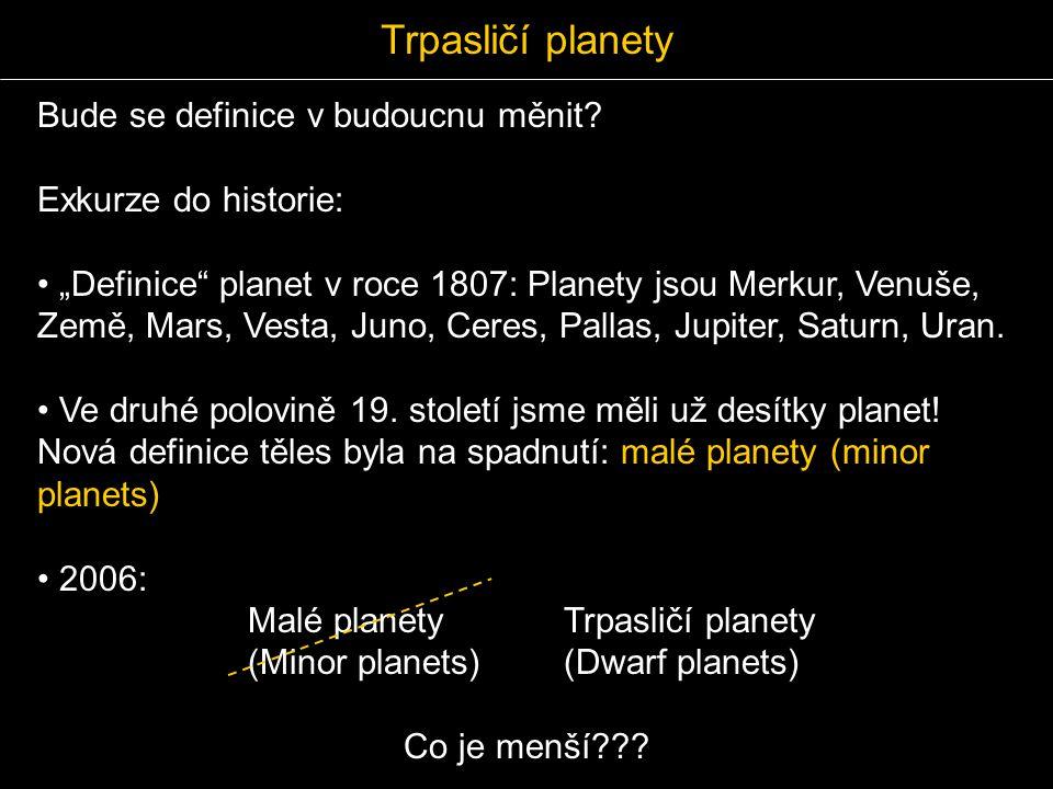"""Bude se definice v budoucnu měnit? Exkurze do historie: """"Definice"""" planet v roce 1807: Planety jsou Merkur, Venuše, Země, Mars, Vesta, Juno, Ceres, Pa"""