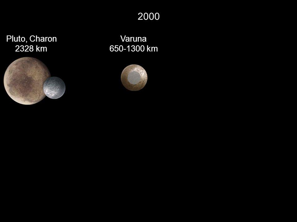 2000 Pluto, Charon 2328 km Varuna 650-1300 km