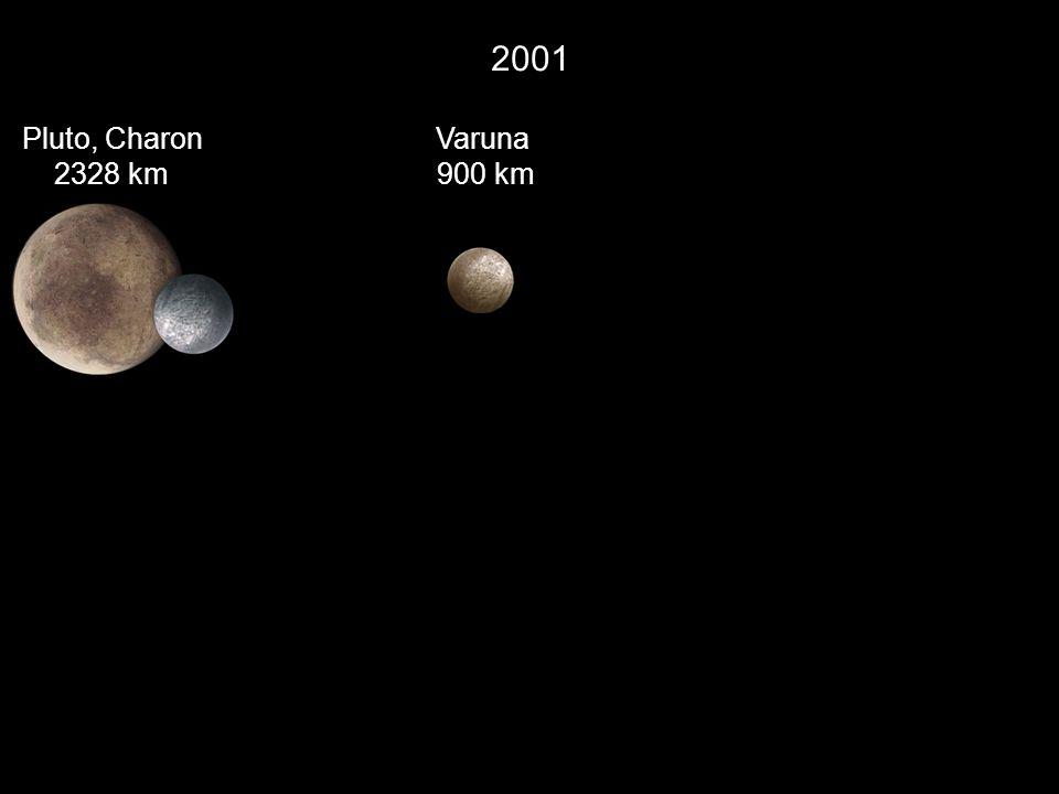 2001 Pluto, Charon 2328 km Varuna 900 km