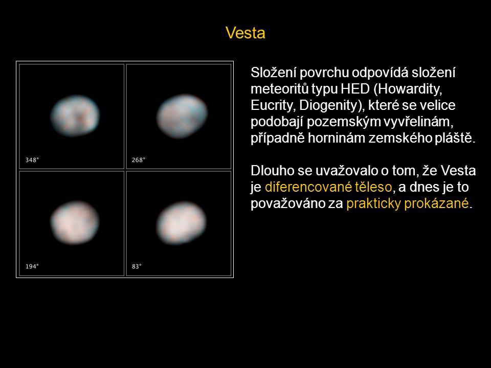 Vesta Složení povrchu odpovídá složení meteoritů typu HED (Howardity, Eucrity, Diogenity), které se velice podobají pozemským vyvřelinám, případně hor