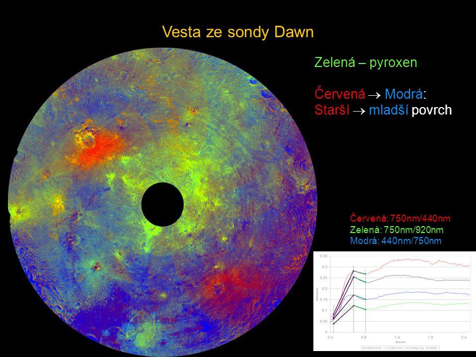 Vesta ze sondy Dawn Zelená – pyroxen Červená  Modrá: Starší  mladší povrch Červená: 750nm/440nm Zelená: 750nm/920nm Modrá: 440nm/750nm