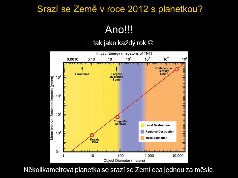Srazí se Země v roce 2012 s planetkou? Ano!!! Několikametrová planetka se srazí se Zemí cca jednou za měsíc. … tak jako každý rok