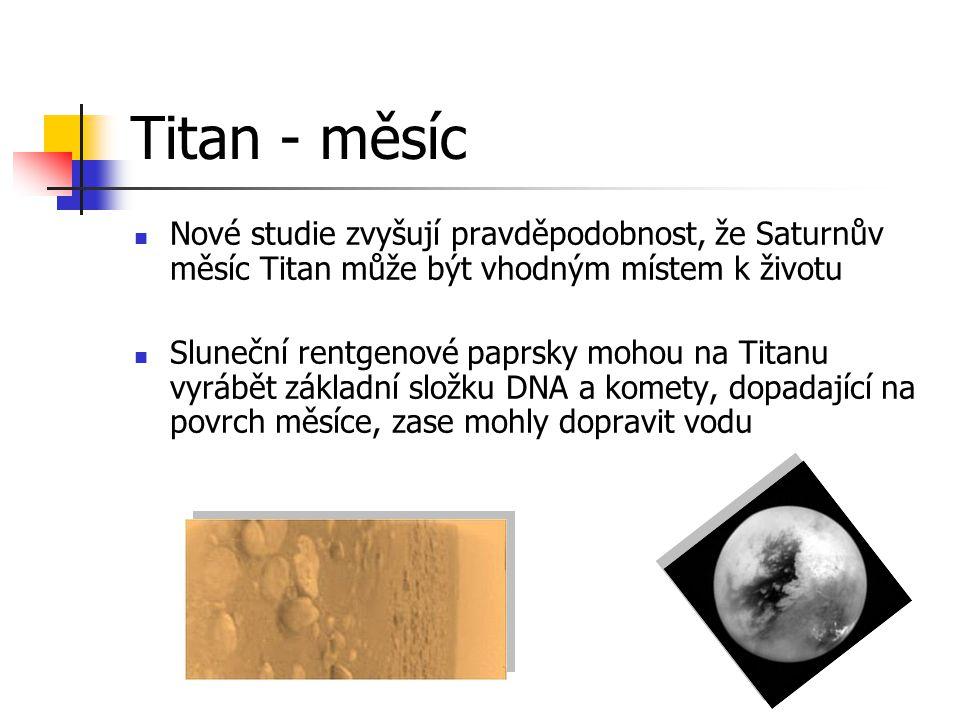 Titan - měsíc Nové studie zvyšují pravděpodobnost, že Saturnův měsíc Titan může být vhodným místem k životu Sluneční rentgenové paprsky mohou na Titan