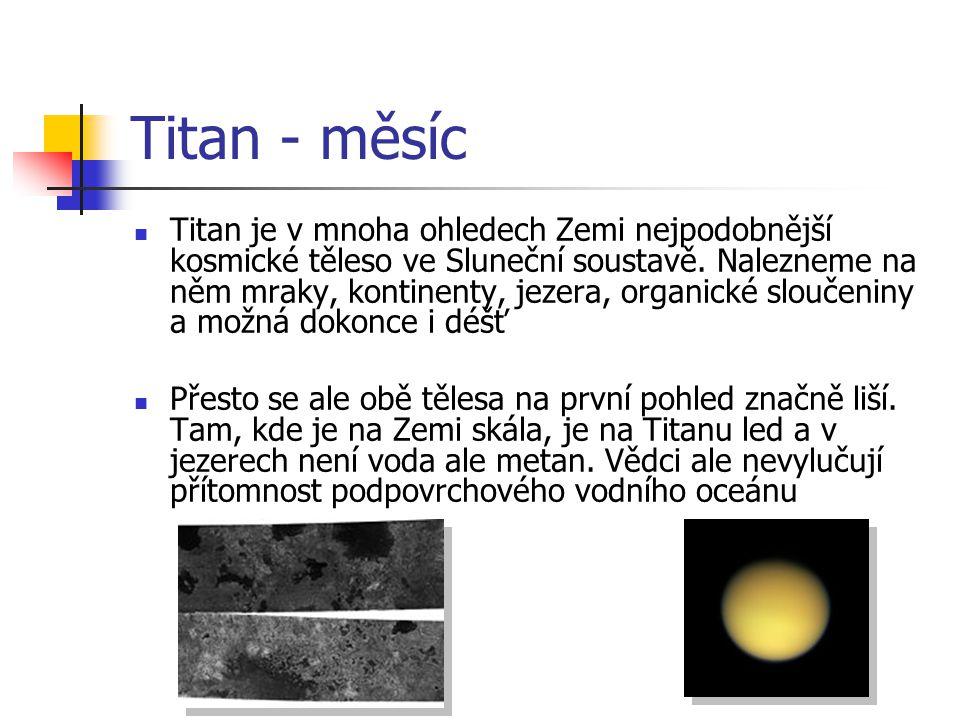 Titan - měsíc Titan je v mnoha ohledech Zemi nejpodobnější kosmické těleso ve Sluneční soustavě. Nalezneme na něm mraky, kontinenty, jezera, organické