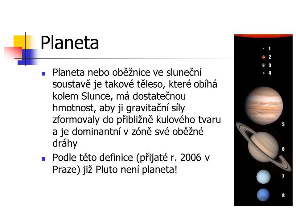 Planeta Planeta nebo oběžnice ve sluneční soustavě je takové těleso, které obíhá kolem Slunce, má dostatečnou hmotnost, aby ji gravitační síly zformov