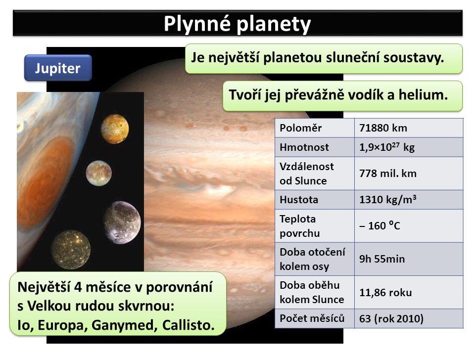Plynné planety Jupiter Je největší planetou sluneční soustavy. Poloměr 71880 km Hmotnost 1,9×10 27 kg Vzdálenost od Slunce 778 mil. km Hustota 1310 kg