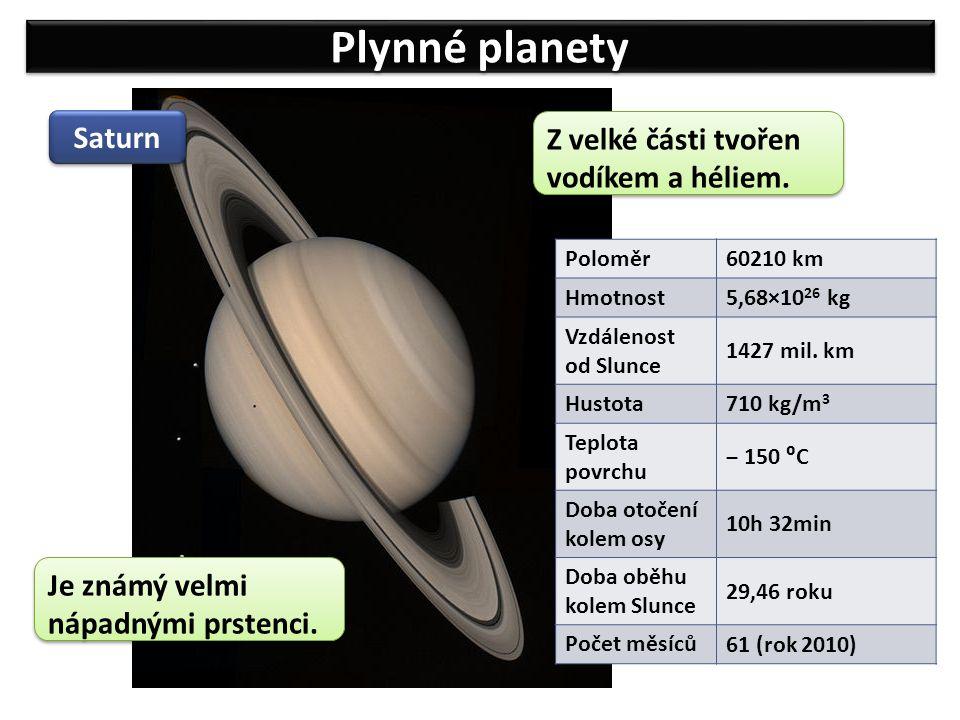 Plynné planety Saturn Je známý velmi nápadnými prstenci. Poloměr 60210 km Hmotnost 5,68×10 26 kg Vzdálenost od Slunce 1427 mil. km Hustota 710 kg/m 3