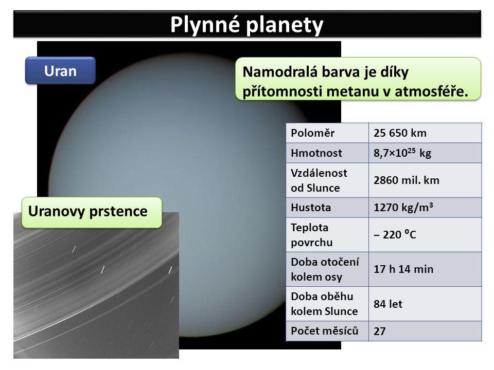 Plynné planety Uran Poloměr 25 650 km Hmotnost 8,7×10 25 kg Vzdálenost od Slunce 2860 mil. km Hustota 1270 kg/m 3 Teplota povrchu ‒ 220 ⁰C Doba otočen