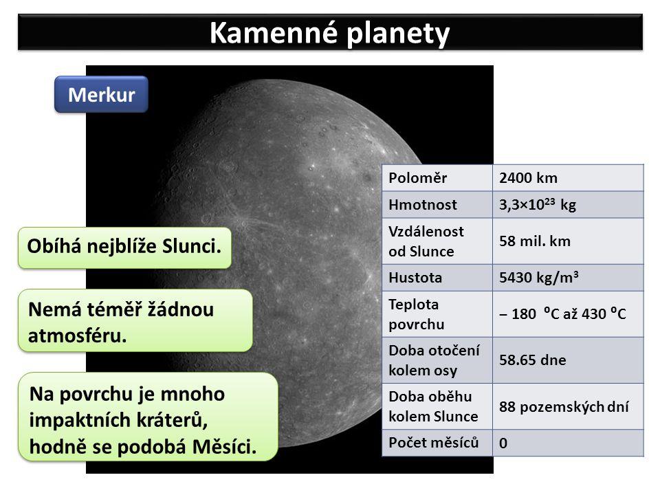 Kamenné planety Merkur Obíhá nejblíže Slunci. Na povrchu je mnoho impaktních kráterů, hodně se podobá Měsíci. Poloměr 2400 km Hmotnost 3,3×10 23 kg Vz