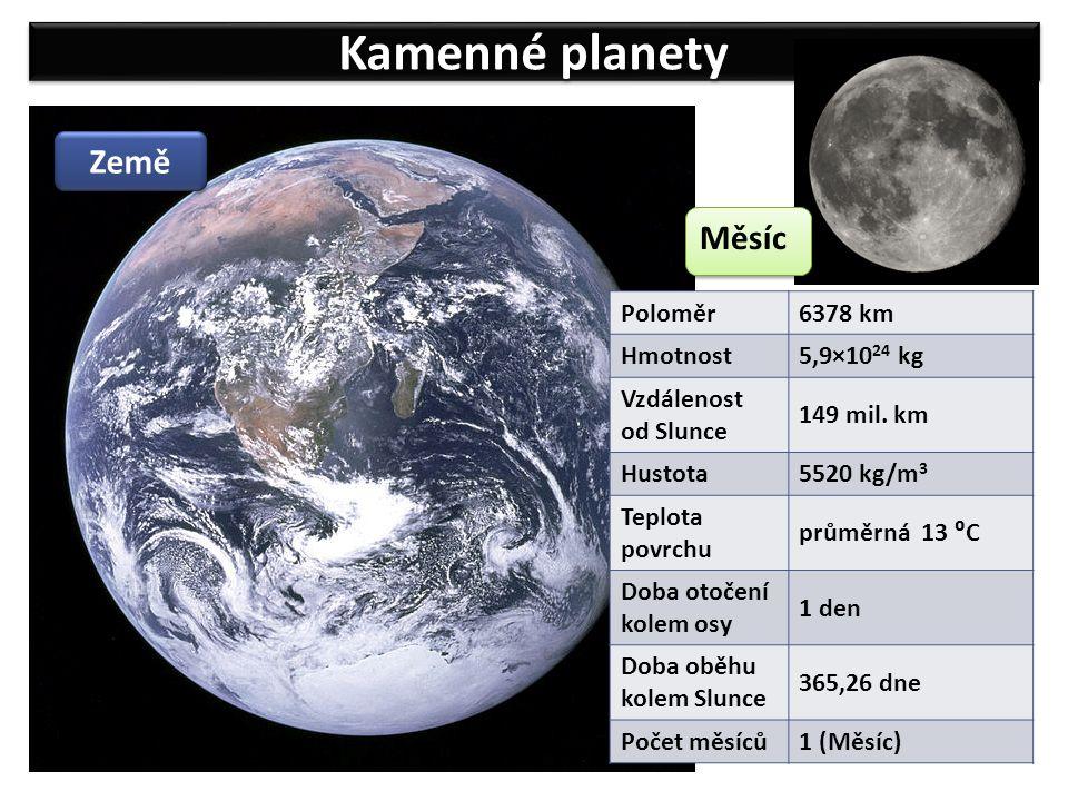 Kamenné planety Země Poloměr6378 km Hmotnost 5,9×10 24 kg Vzdálenost od Slunce 149 mil. km Hustota 5520 kg/m 3 Teplota povrchu průměrná 13 ⁰C Doba oto