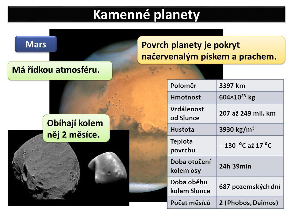Kamenné planety Mars Poloměr3397 km Hmotnost 604×10 23 kg Vzdálenost od Slunce 207 až 249 mil. km Hustota 3930 kg/m 3 Teplota povrchu ‒ 130 ⁰C až 17 ⁰