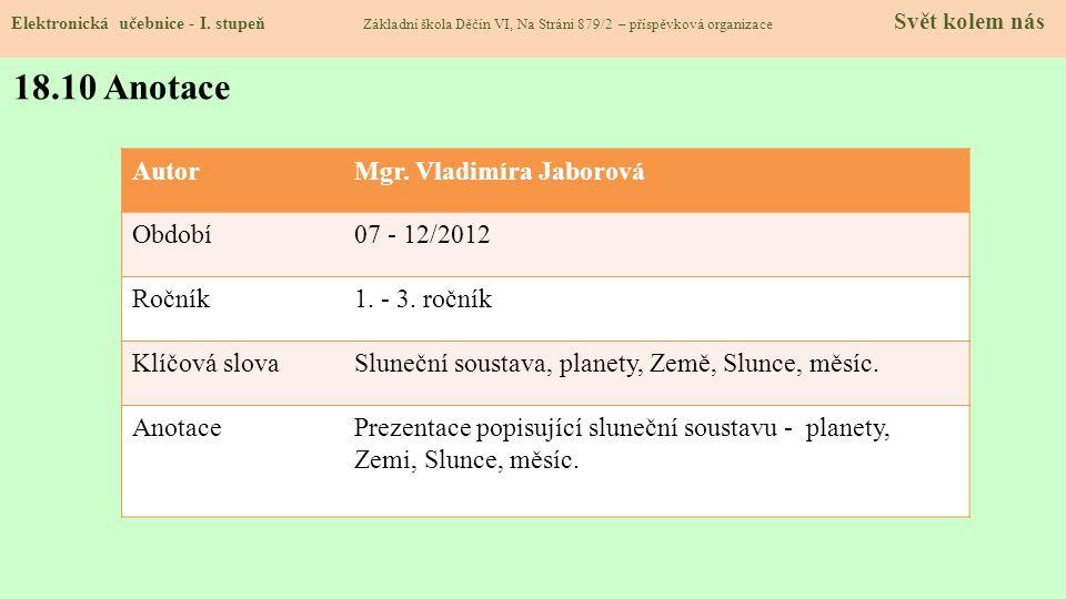 18.9 Použité zdroje, citace Elektronická učebnice - I. stupeň Základní škola Děčín VI, Na Stráni 879/2 – příspěvková organizace Svět kolem nás 1.http: