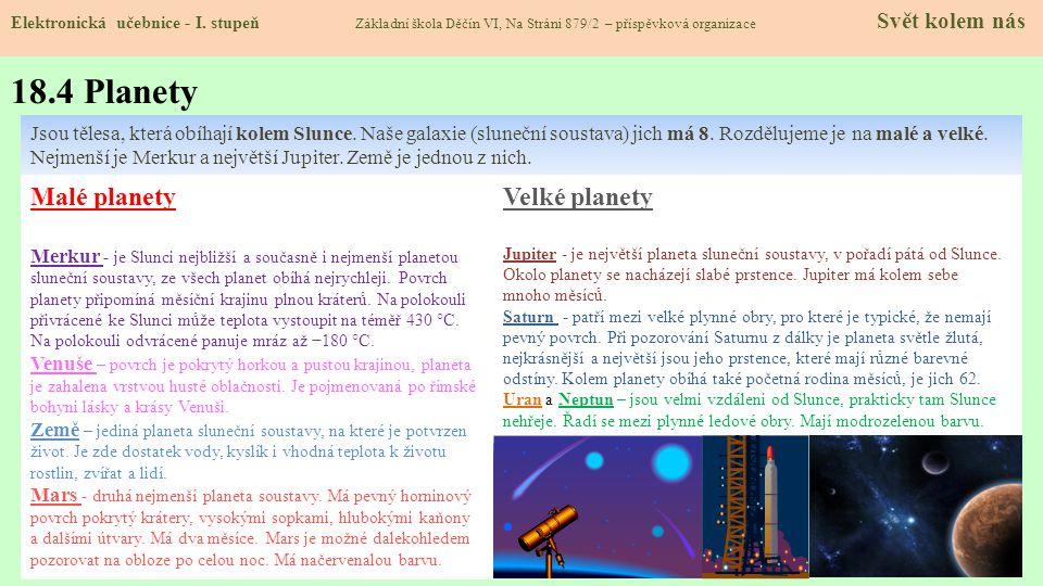 18.4 Planety Elektronická učebnice - I.