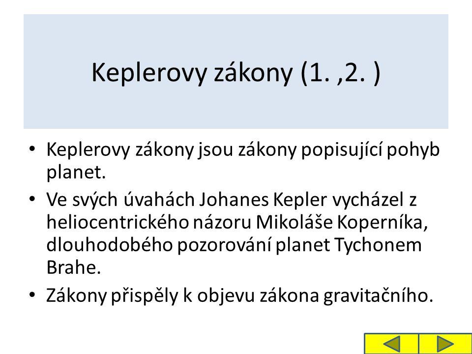 Keplerovy zákony (1.,2.) Keplerovy zákony jsou zákony popisující pohyb planet.