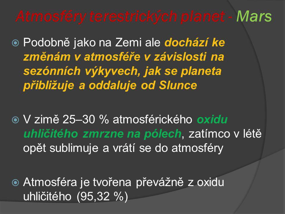 Atmosféry terestrických planet - Mars  Podobně jako na Zemi ale dochází ke změnám v atmosféře v závislosti na sezónních výkyvech, jak se planeta přib