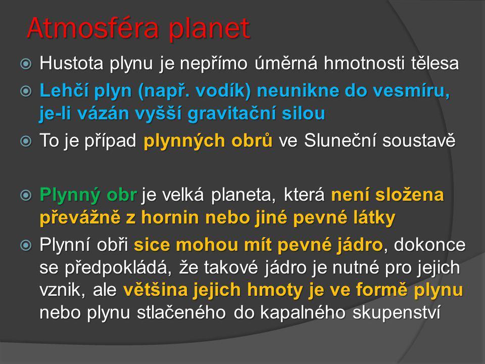 Atmosféra planet  Hustota plynu je nepřímo úměrná hmotnosti tělesa  Lehčí plyn (např. vodík) neunikne do vesmíru, je-li vázán vyšší gravitační silou
