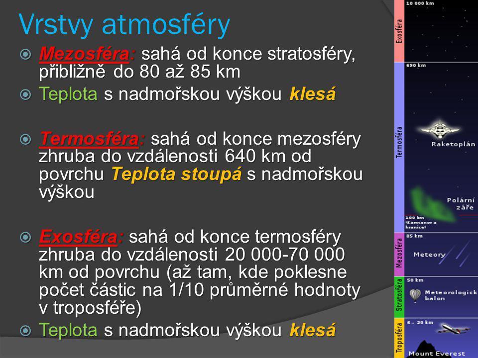 Vrstvy atmosféry  Mezosféra: sahá od konce stratosféry, přibližně do 80 až 85 km  Teplota s nadmořskou výškou klesá  Termosféra: sahá od konce mezo