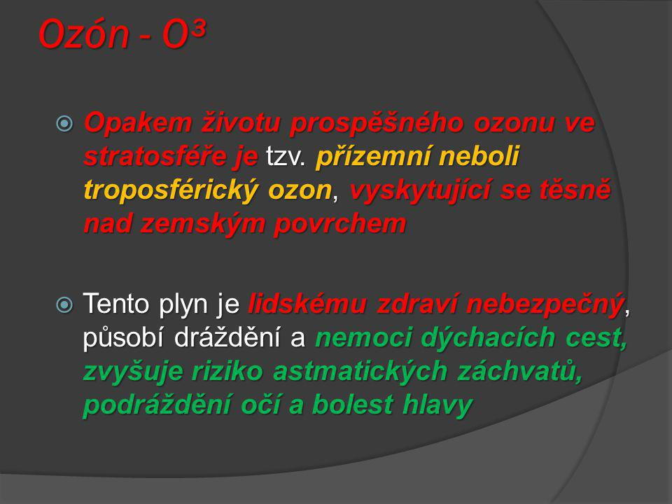 Ozón - O³  Opakem životu prospěšného ozonu ve stratosféře je tzv. přízemní neboli troposférický ozon, vyskytující se těsně nad zemským povrchem  Ten