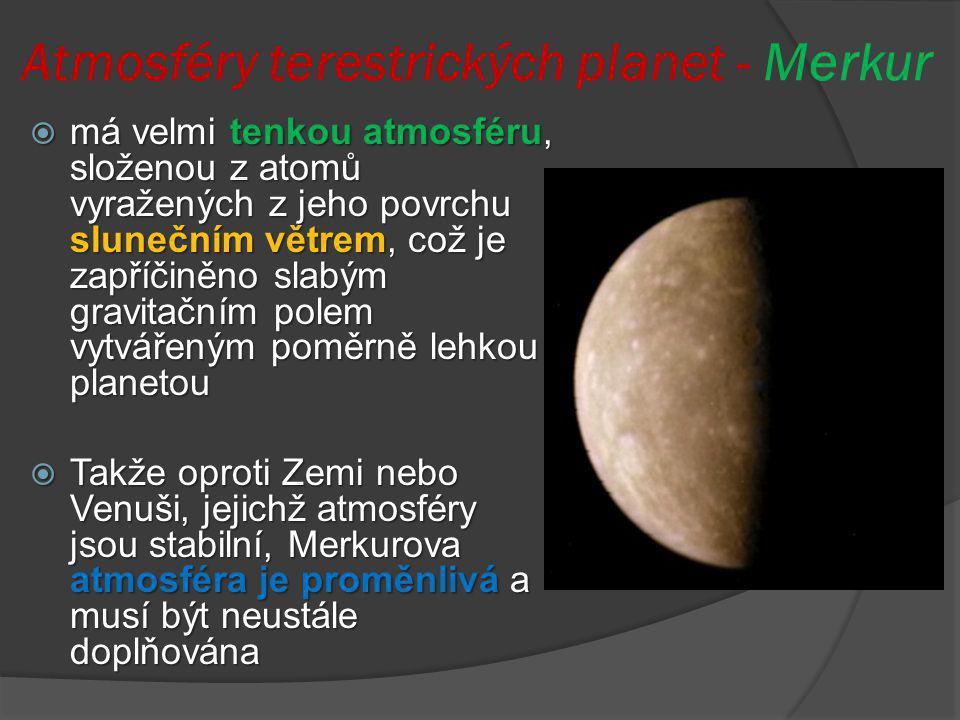 Atmosféry terestrických planet - Merkur  má velmi tenkou atmosféru, složenou z atomů vyražených z jeho povrchu slunečním větrem, což je zapříčiněno s