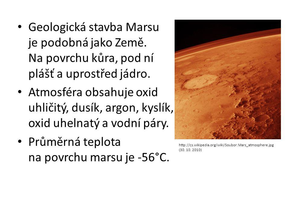Geologická stavba Marsu je podobná jako Země. Na povrchu kůra, pod ní plášť a uprostřed jádro. Atmosféra obsahuje oxid uhličitý, dusík, argon, kyslík,