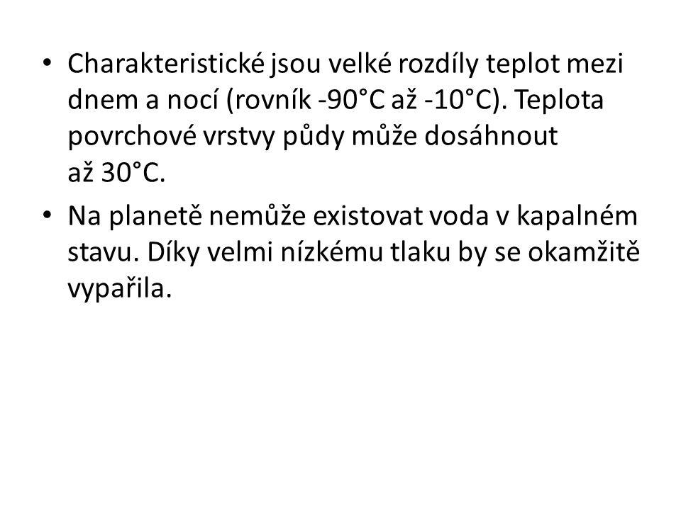 Charakteristické jsou velké rozdíly teplot mezi dnem a nocí (rovník -90°C až -10°C). Teplota povrchové vrstvy půdy může dosáhnout až 30°C. Na planetě