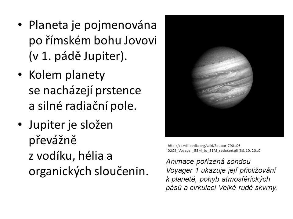 Planeta je pojmenována po římském bohu Jovovi (v 1. pádě Jupiter). Kolem planety se nacházejí prstence a silné radiační pole. Jupiter je složen převáž