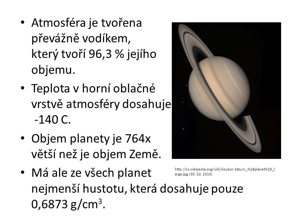 Atmosféra je tvořena převážně vodíkem, který tvoří 96,3 % jejího objemu. Teplota v horní oblačné vrstvě atmosféry dosahuje -140 C. Objem planety je 76