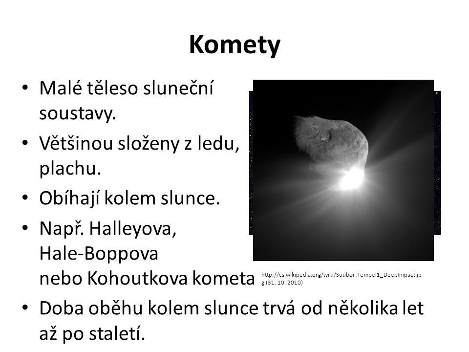 Komety Malé těleso sluneční soustavy. Většinou složeny z ledu, plachu. Obíhají kolem slunce. Např. Halleyova, Hale-Boppova nebo Kohoutkova kometa Doba
