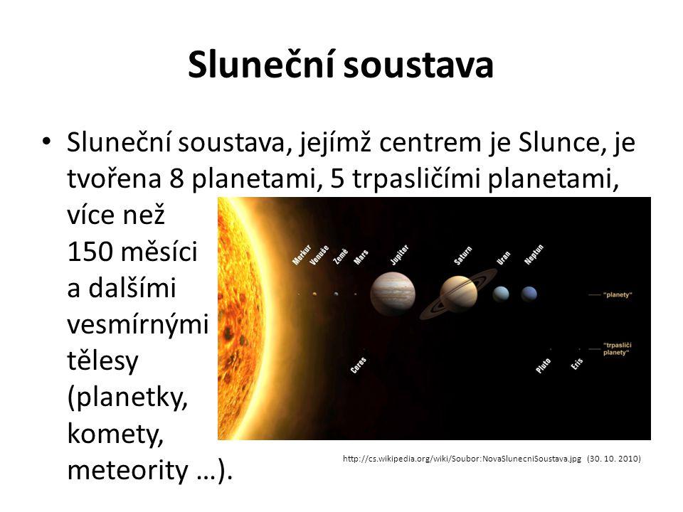 Sluneční soustava Sluneční soustava, jejímž centrem je Slunce, je tvořena 8 planetami, 5 trpasličími planetami, více než 150 měsíci a dalšími vesmírnými tělesy (planetky, komety, meteority …).