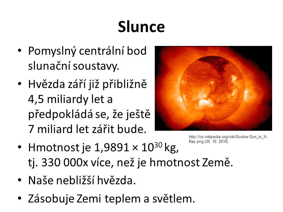 Slunce Pomyslný centrální bod slunační soustavy. Hvězda září již přibližně 4,5 miliardy let a předpokládá se, že ještě 7 miliard let zářit bude. Hmotn