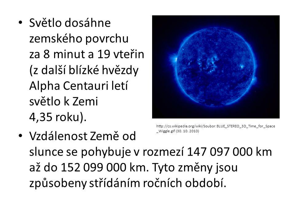 Světlo dosáhne zemského povrchu za 8 minut a 19 vteřin (z další blízké hvězdy Alpha Centauri letí světlo k Zemi 4,35 roku). Vzdálenost Země od slunce