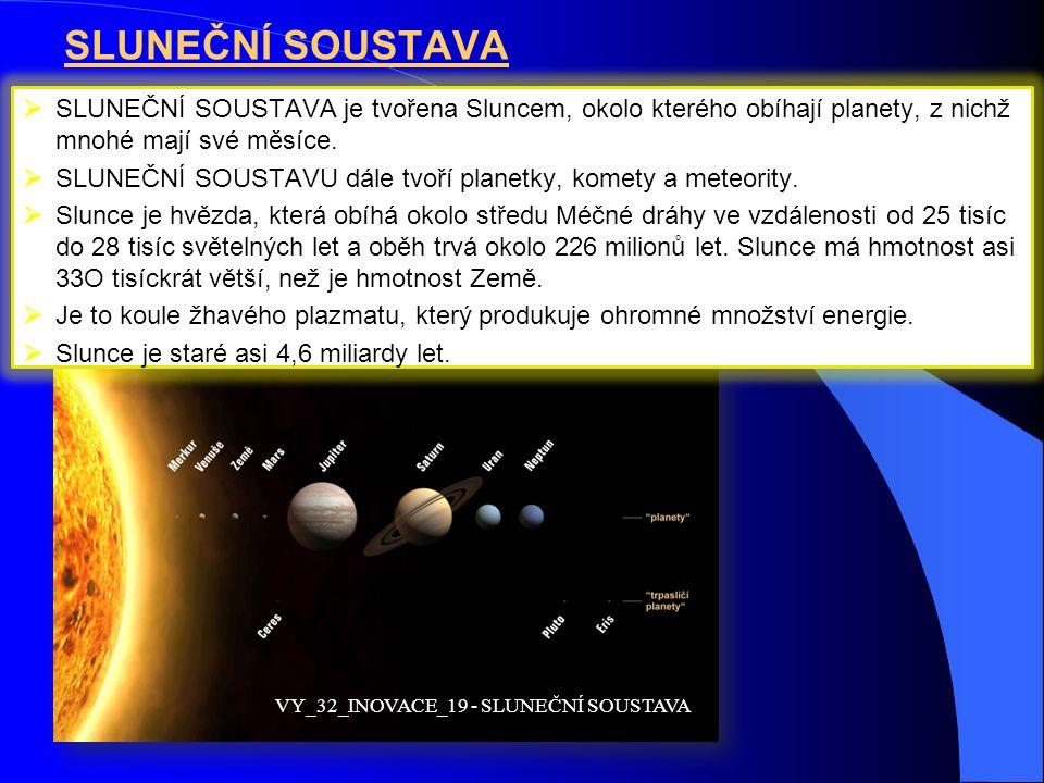 SLUNEČNÍ SOUSTAVA  SLUNEČNÍ SOUSTAVA je tvořena Sluncem, okolo kterého obíhají planety, z nichž mnohé mají své měsíce.  SLUNEČNÍ SOUSTAVU dále tvoří