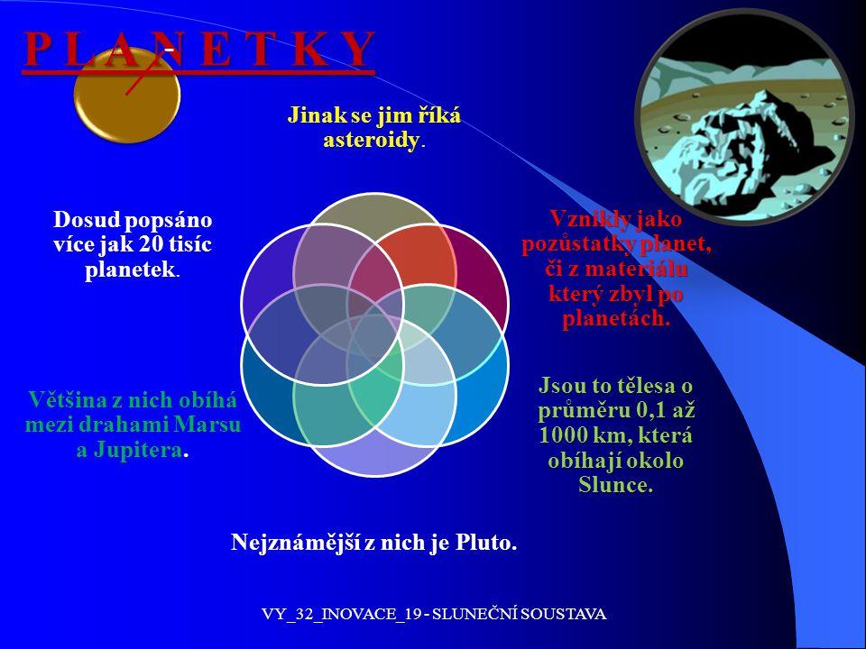 P L A N E T K Y Jinak se jim říká asteroidy. Vznikly jako pozůstatky planet, či z materiálu který zbyl po planetách. Jsou to tělesa o průměru 0,1 až 1