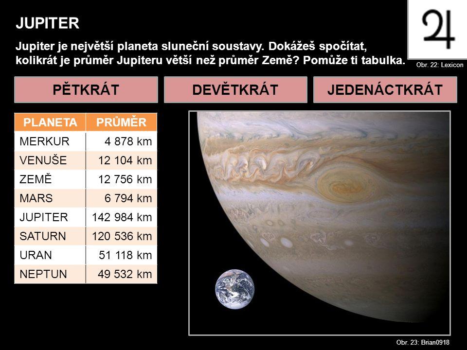 JUPITER Obr.22: Lexicon Jupiter je největší planeta sluneční soustavy.