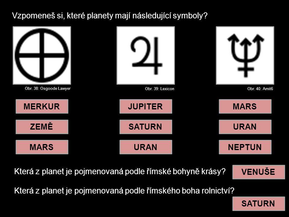 Vzpomeneš si, které planety mají následující symboly.