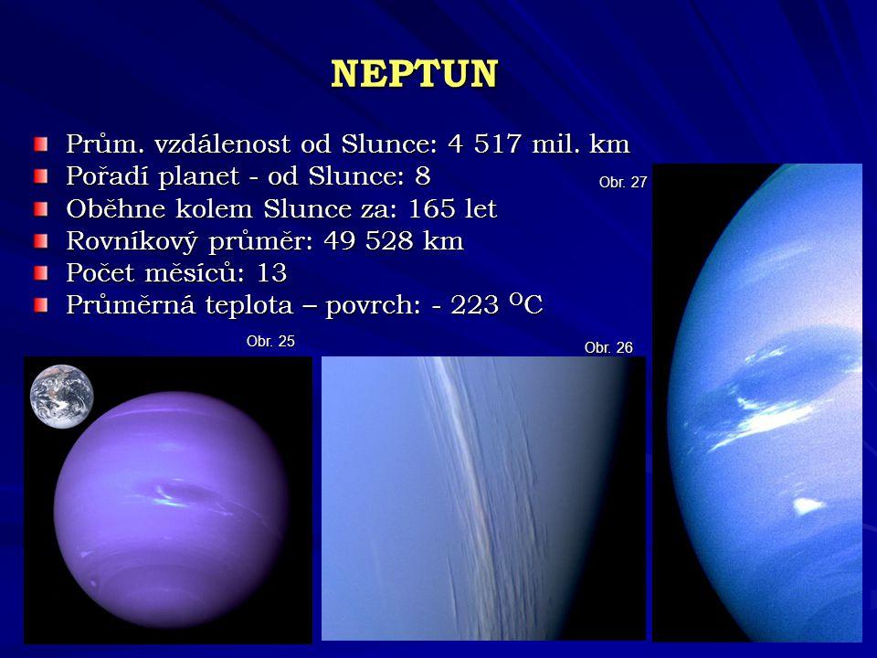 NEPTUN Prům. vzdálenost od Slunce: 4 517 mil. km Pořadí planet - od Slunce: 8 Oběhne kolem Slunce za: 165 let Rovníkový průměr: 49 528 km Počet měsíců