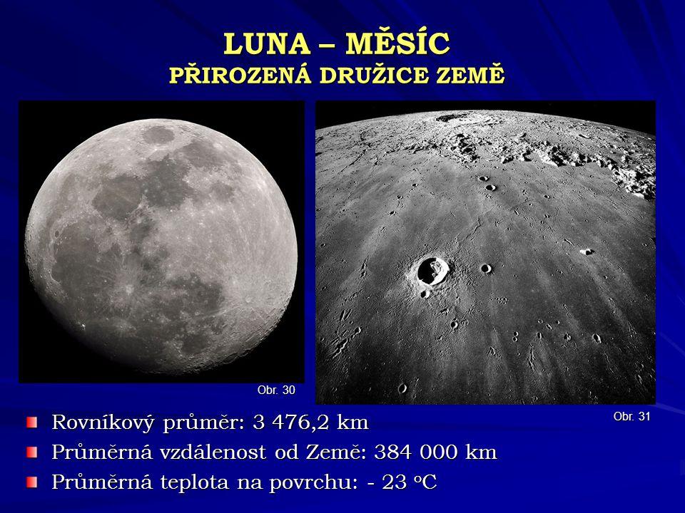 LUNA – MĚSÍC PŘIROZENÁ DRUŽICE ZEMĚ Rovníkový průměr: 3 476,2 km Průměrná vzdálenost od Země: 384 000 km Průměrná teplota na povrchu: - 23 o C Obr. 31