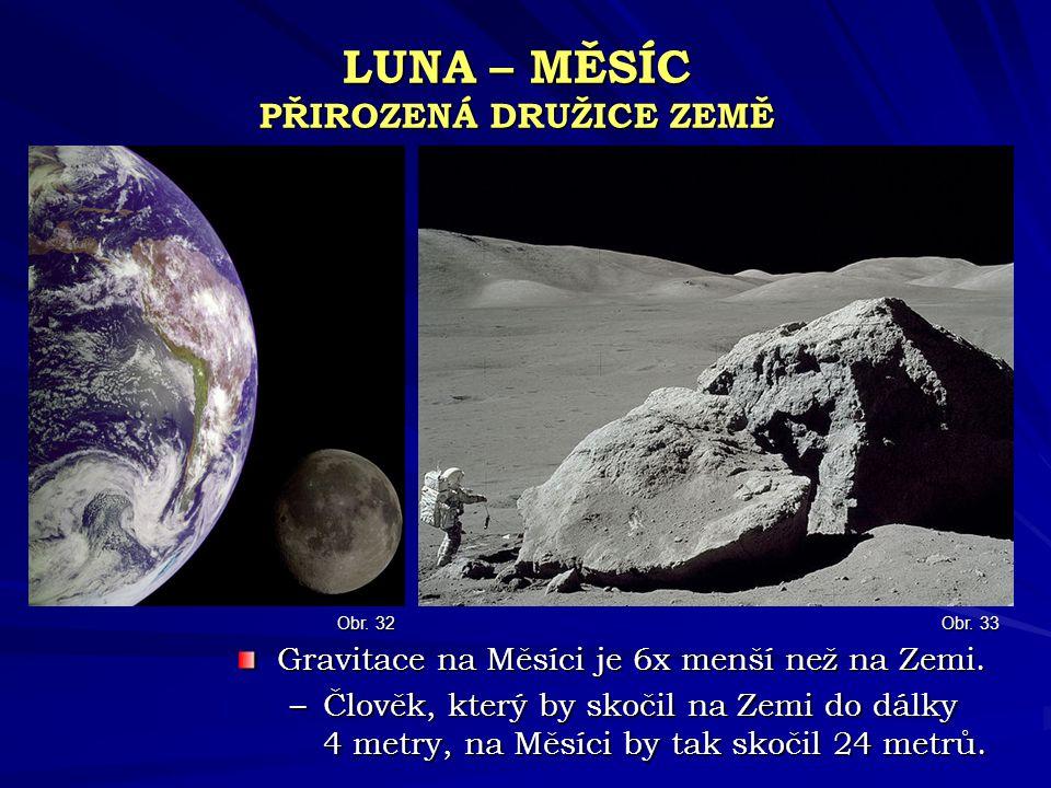 LUNA – MĚSÍC PŘIROZENÁ DRUŽICE ZEMĚ Gravitace na Měsíci je 6x menší než na Zemi. –Člověk, který by skočil na Zemi do dálky 4 metry, na Měsíci by tak s