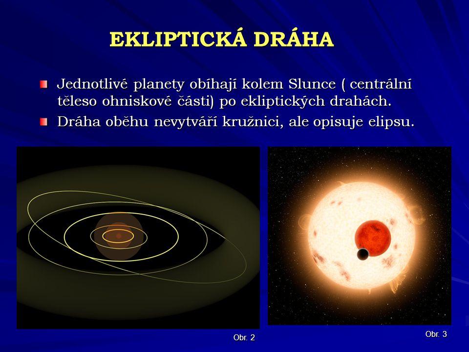 EKLIPTICKÁ DRÁHA Jednotlivé planety obíhají kolem Slunce ( centrální těleso ohniskové části) po ekliptických drahách. Dráha oběhu nevytváří kružnici,