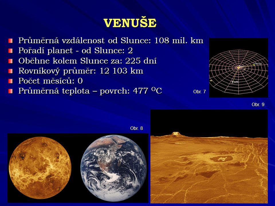 VENUŠE Průměrná vzdálenost od Slunce: 108 mil. km Pořadí planet - od Slunce: 2 Oběhne kolem Slunce za: 225 dní Rovníkový průměr: 12 103 km Počet měsíc