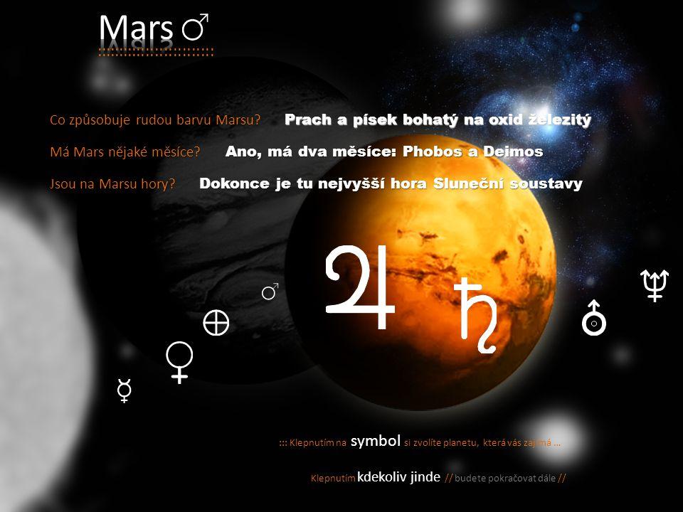 :: čtvrtá planeta od Slunce : :: po Merkuru druhý nejmenší // :: vysoké hory // hluboké krátery má *dva * Měsíce atmosféra // převážně z oxidu uhličit