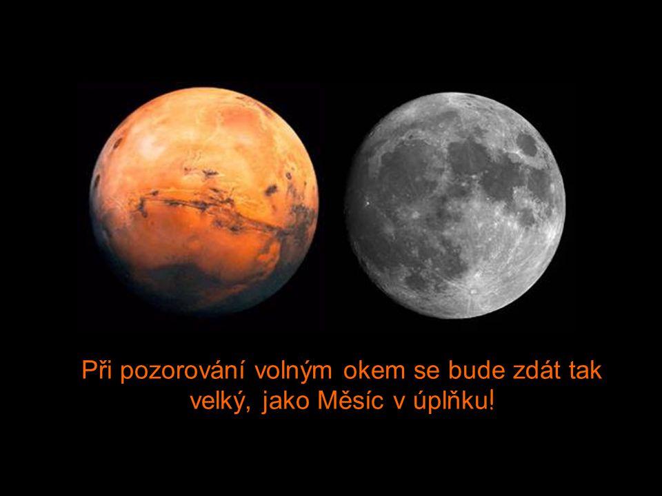 27. Srpna však bude vzdálenost mezi Zemí a Marsem nejmenší, a to 34,649,589 míl. V tu noc bude na obloze Mars nejjasněji vidět a bude největší.