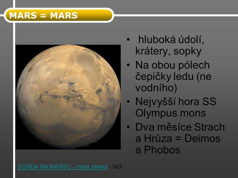 hluboká údolí, krátery, sopky Na obou pólech čepičky ledu (ne vodního) Nejvyšší hora SS Olympus mons Dva měsíce Strach a Hrůza = Deimos a Phobos MARS