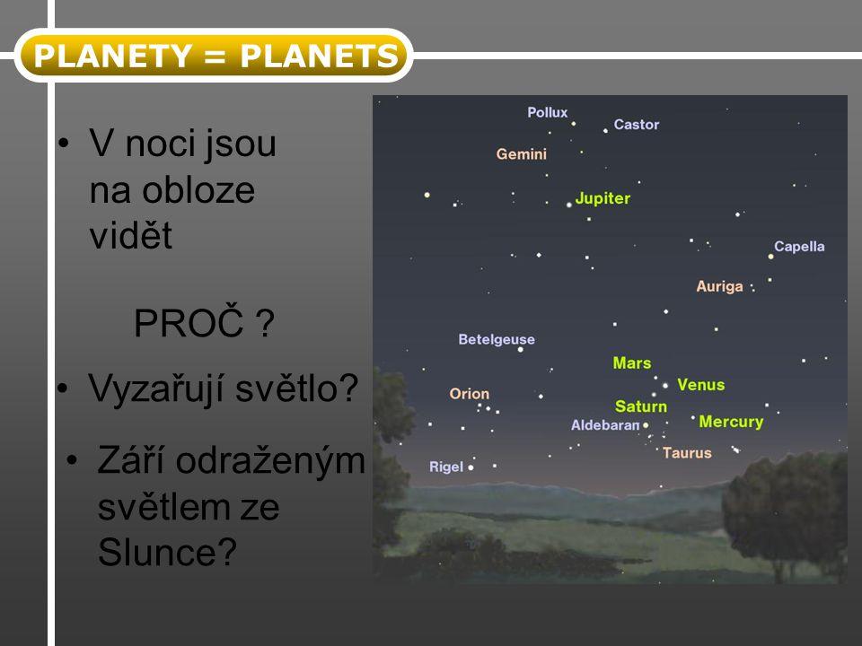 PLANETY = PLANETS V noci jsou na obloze vidět PROČ ? Září odraženým světlem ze Slunce? Vyzařují světlo?