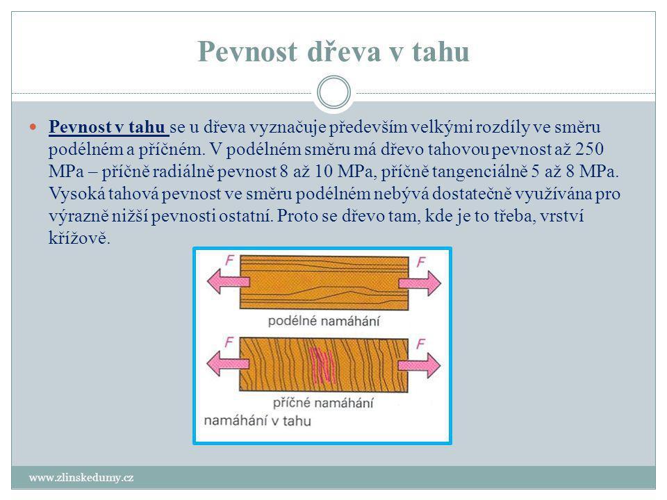 Pevnost dřeva v ohybu www.zlinskedumy.cz Na ohyb jsou namáhány vazníky, trámce a převážná část střešních konstrukcí.