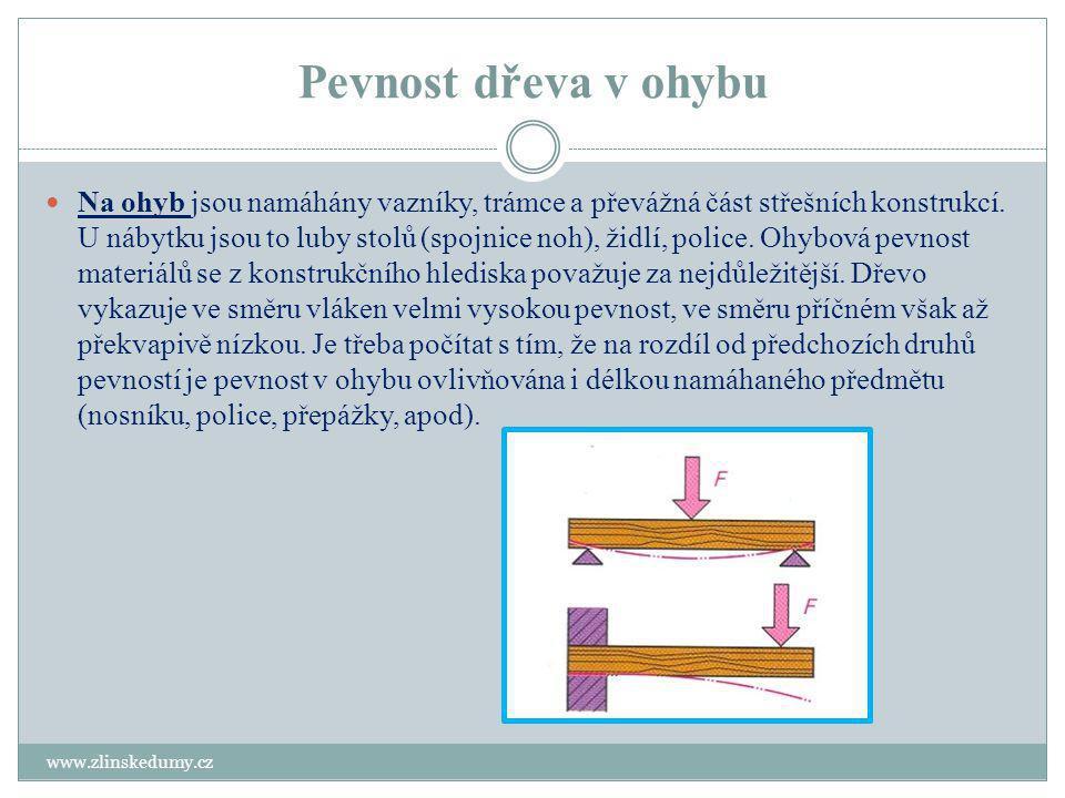 Pevnost dřeva v ohybu www.zlinskedumy.cz Na ohyb jsou namáhány vazníky, trámce a převážná část střešních konstrukcí. U nábytku jsou to luby stolů (spo