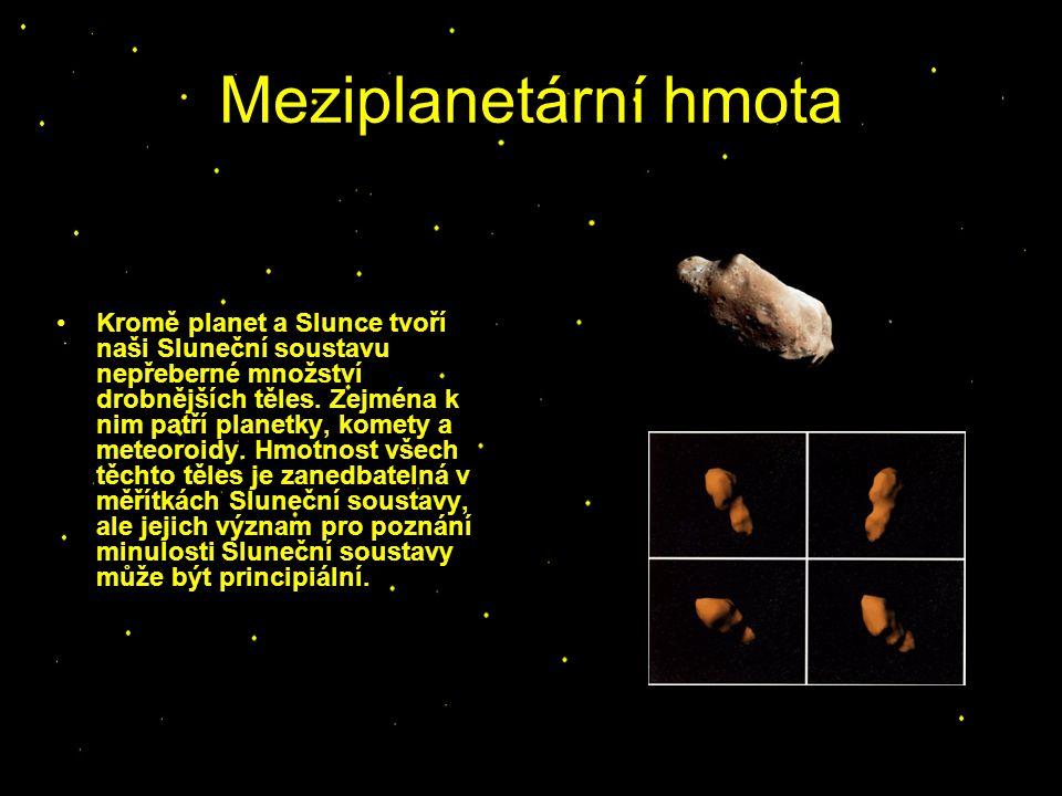 Meziplanetární hmota Kromě planet a Slunce tvoří naši Sluneční soustavu nepřeberné množství drobnějších těles. Zejména k nim patří planetky, komety a